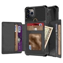IPhone 11 Pro X XR XS Max 케이스, WEFOR 신용 카드 고급 현금 지갑 iPhone 6 6S 7 8 Plus Phone Cover 용 킥 스탠드 백 케이스