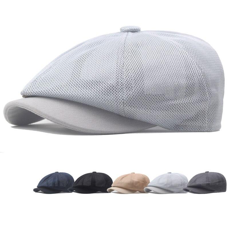 Western Men's Casual Newsboy Cap Spring Summer Mesh Beret Octagonal Hat