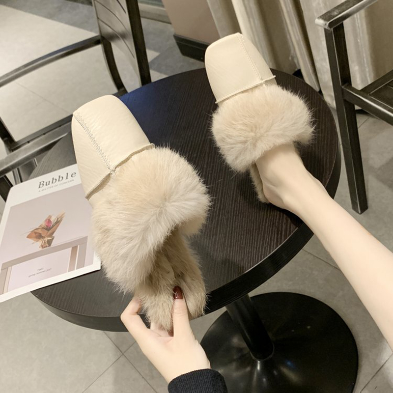 square close toe fur mules shoes flats casual rabbit hair slingback lazy slippers handmade sewing pleated leather slides female 37