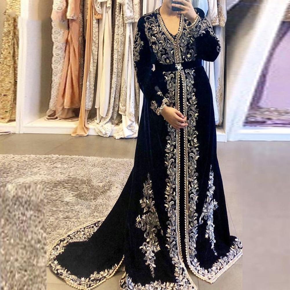 Lorie Navy Blue Moroccan Kaftan Dubai Evening Dresses Gold Lace Applique Velour Saudi Arabic Muslim Party Gowns Plus Size