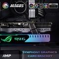 Grafikkarte Unterstützung GPU Halter Halterung VGA Rahmen Stehen Aluminium + Acryl ROG 12V 4PIN RGB/5V 3PIN ARGB ASUS AURA SYNC Symphonie