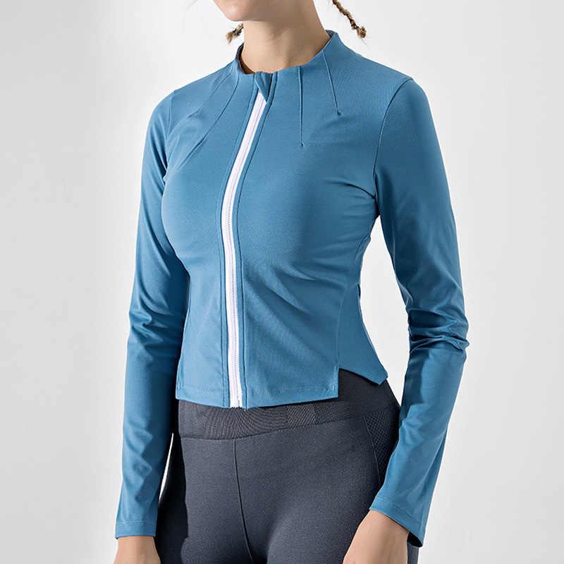2020 春の新ヨガコートレディースパーカーセーター長袖スポーツジャケット女性ストレッチ通気性のフィットネス衣類トレーニングランニングジャケット