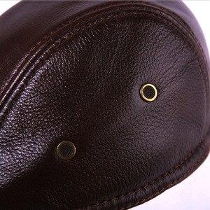 Image 5 - 2020 yepyeni erkek gerçek hakiki deri şapka beyzbol şapkası marka Newsboy/bere şapka kış sıcak caps şapka inek derisi kap
