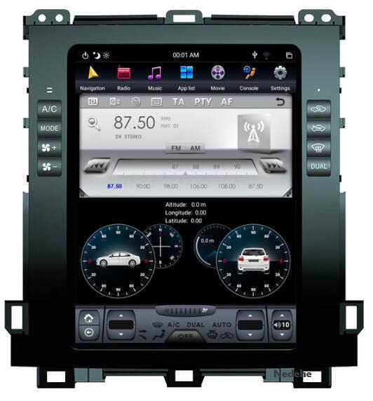 """Lecteur DVD de Navigation GPS de voiture Android 8.1 pour Toyota Land Cruiser Prado 120 2002-2009/Lexus GX470 Tesla Style 10.4 """"écran IPS"""