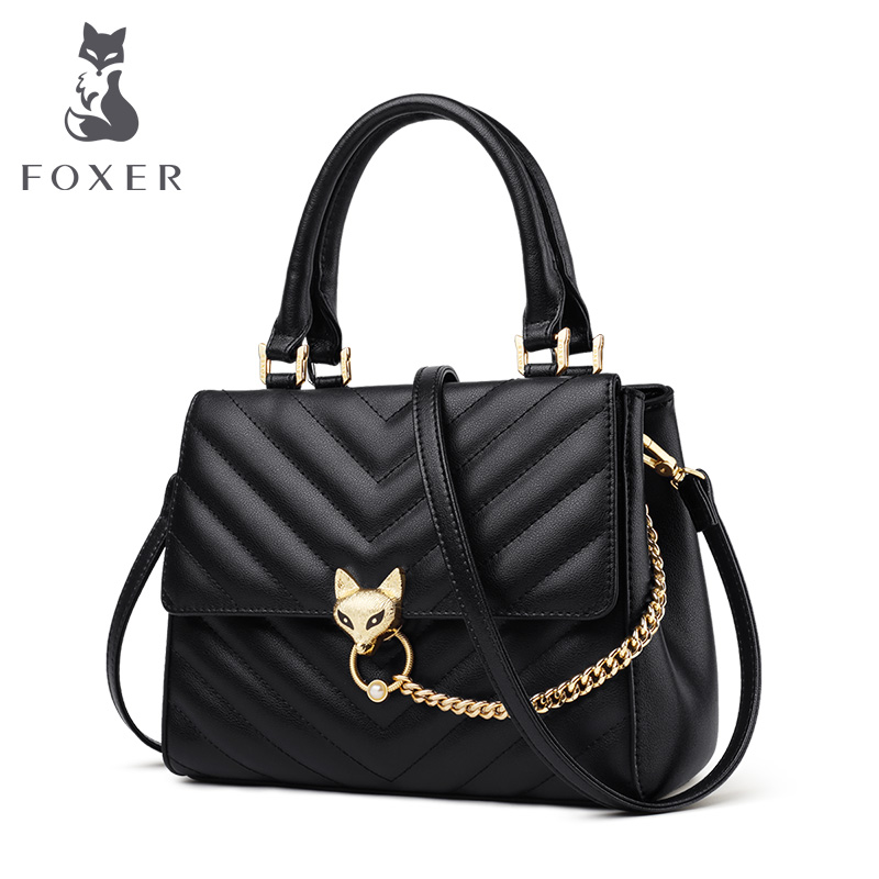 FOXER Stylish Lady Commuter Style Women Handle Bags Large Capacity Lady Chic Purse Cowhide Female Messenger Bag Fashion Totes