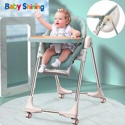 Baby Glänzende Baby Stuhl PU Sitz Hohe Stuhl Verbesserte Rad Verdickt Rohr Faltbare Ei Fütterung Stuhl Tisch Baby Multi-funktionale