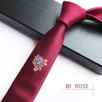 High Quality 5CM Skinny Tie Rose Necktie Embroidery Korean Magnolia Mark Gravata Youthful Man Male Neckwear