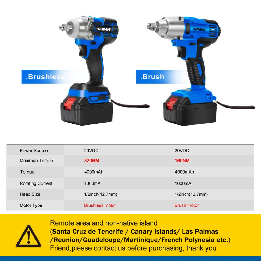 Image 2 - TENWA Brushless Electric Wrench 21V Impact Wrench Socket   4000mAh Li Battery Hand Drill Installation Power Tools-in Electric Wrenches from Tools on