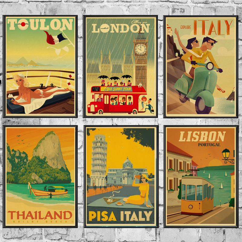 Vintage Travel City Landscape Retro Posters And Prints Wall Stickers Print On Kraft Paper Art For Home Room Decor Painting Painting Calligraphy Aliexpress