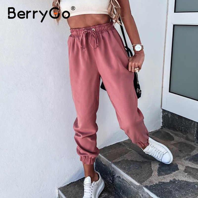 Berrygo Pantalones Deportivos Con Cordones Para Mujer Pantalon Bombachos Holgados Para Correr En Casa Color Rosa Para Verano 2020 Pantalones Y Pantalones Capri Aliexpress