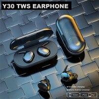 Auriculares TWS Y30, inalámbricos por Bluetooth 5,0, auriculares internos estéreo HD con batería de larga duración, compatibles con XiaoMi, iPhone y Android