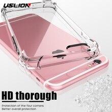 USLION противоударный армированный Прозрачный чехол для iPhone 11 Pro Max XS Max XR X 8 7 6 6s Plus 5 5S SE прозрачные телефонные чехлы крышка подушки безопасности