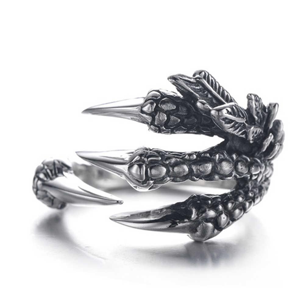 Fashion Unisex Titanium Baja Cakar Naga Terbuka Hadiah Pesona Perhiasan Cincin Cakar Desain Menawan Perhiasan untuk Pria Fashion2