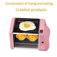 Bonito mini baking forno frito máquina de multi-função dois em um café da manhã pão torrador 1-15min cronometragem máquina de assar 220W 220V