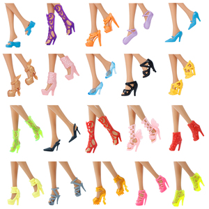 10x Random Shoes Fashion Mixed High Heel Sandals Slippers Colorful Accessories Dress Clothes For Barbie Doll Girls Play DIY Toys(China)