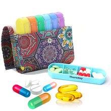 7 caixas de pílula dia remédio organizador caso estilo étnico semanal medicina organizador do plutônio medicina divisor recipiente suplemento vitamínico