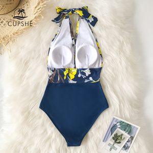 Image 4 - CUPSHE donanma çiçek derin v yaka Halter tek parça mayo seksi Backless dantel Up kadınlar Monokini 2020 plaj mayo mayo
