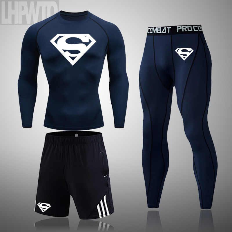 スーパーマン 3 ピース/セーツウェア圧縮スーツフィットネスットボール実行し