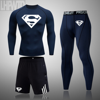Superman 3 Pcs/Sets Men's Long sleeve workout Compression Suit Gym Set Elastic Basketb all Wo rkout Running Sportswear