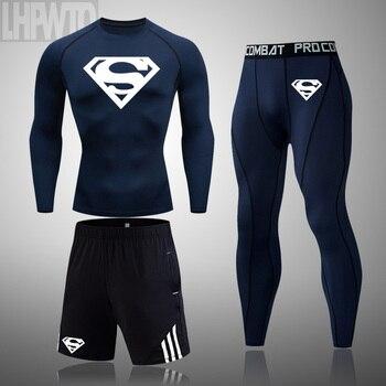 Superman 3 Pcs/Sets Men's Long sleeve workout Compression Suit Gym Set Elastic Basketb all Wo rkout Running Sportswear
