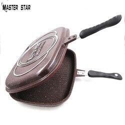 Master Star 40cm dwustronna patelnia odlewana ciśnieniowo Factory Outlet patelnia do steków misa na grilla naczynia kuchenne