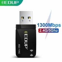 EDUP 1300 Мбит/с мини USB 5,8 Wifi адаптер Wi-Fi сетевая карта два диапазона 2,4G/ГГц беспроводной usb-адаптер переменного тока для ПК настольного компьюте...