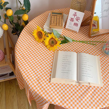 Table Cloth Orange Grid Ins Tablecloth Retro Background Photo Dressing Table Computer Cover Fabric Prop Picnic Mat Kitchen Tools(China)