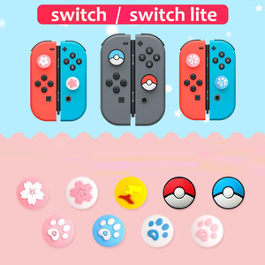 Image 2 - Cute Cat Claw Sakura Thumb Stick Grip Cap Joystick Cover For Nintend Switch Lite NS Joy Con Controller Gamepad Thumbstick Case