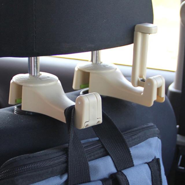 Universal Car Headrest Hook 5kg Max Car Back Seat Hanger with Phone Holder for Bag Handbag Purse Grocery Cloth Easy Install
