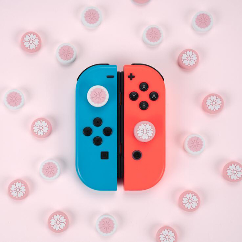 Cute Girl Flower Sakura Thumb Stick Grip Cap Joystick Cover For Nintend Switch Lite NS JoyCon Controller Gamepad Thumbstick Case(China)