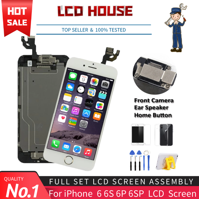 Complete LCD For iPhone 6 6S Plus Display LCD Touch Screen Digitizer Assembly Replacement Full Set Ecran with Home button+Camera