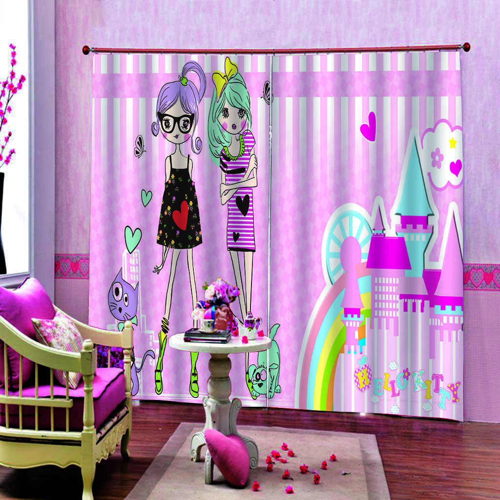Cartoon Pink curtains girls 3D Curtains Living Room Bedroom Drapes Cortinas Customized size
