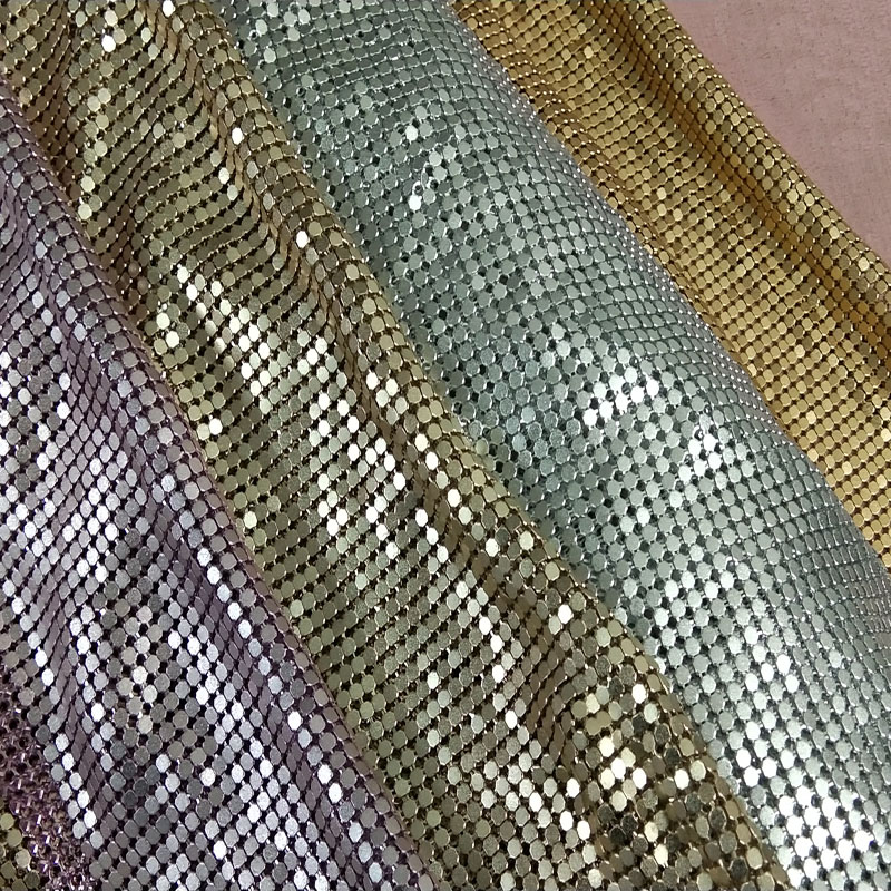 Quality Silver Champagne Pink Matt Metal Mesh Fabric Metallic cloth Matt Metal Sequin Sequined Fabric Home Decoration Curtain