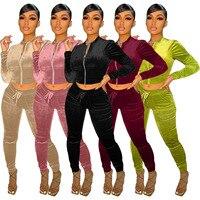 Veludo conjunto de duas peças de inverno outono feminino sólido manga longa zíper colheita topo bolso calças combinando conjunto streetwear treino outfit