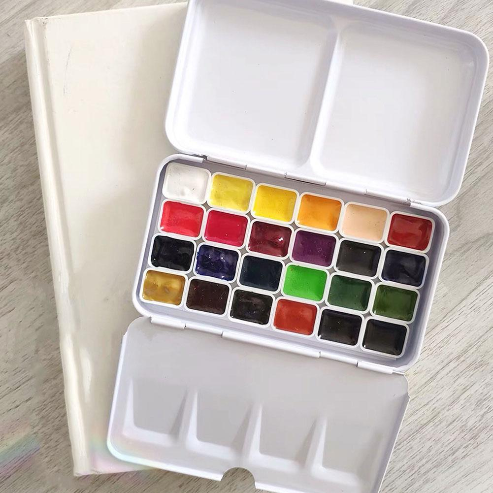Watercolor Paints Tins Box Airtight Palette With 14 Painting Supplie Painting Empty Boxs Travel Iron Pans Paint Storage For Z0E2
