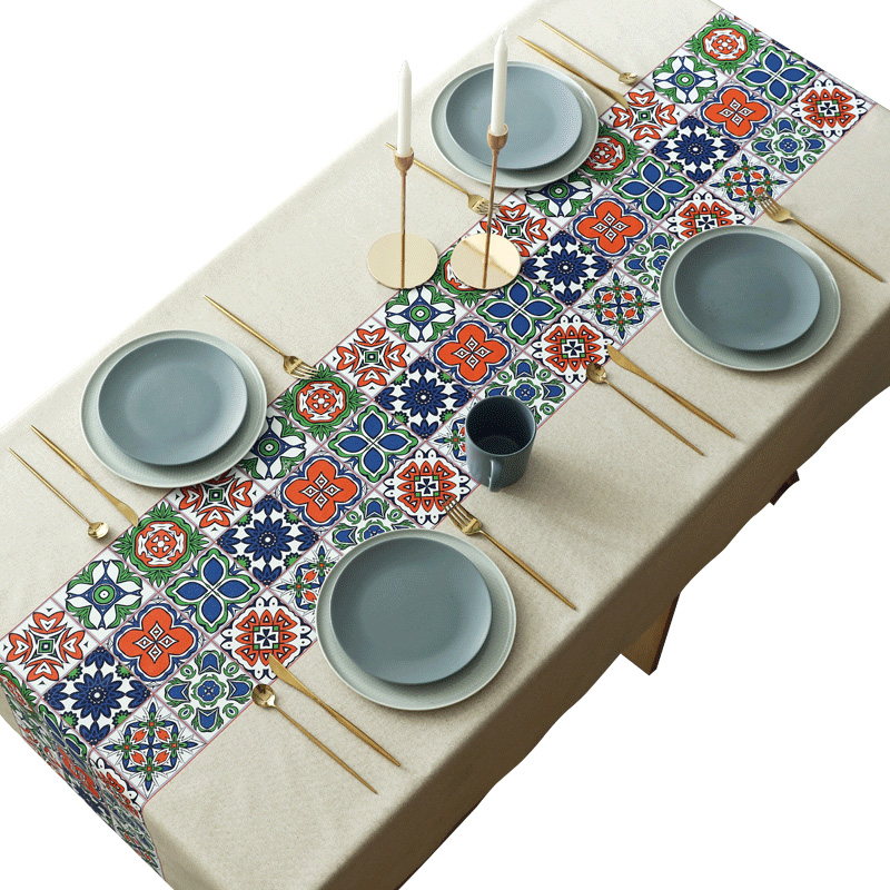 Nordic classical Mosaic Waterproof oil proof tablecloths PVC plastic Heat resistant table cloth party coffee table mat customize in Tablecloths from Home Garden