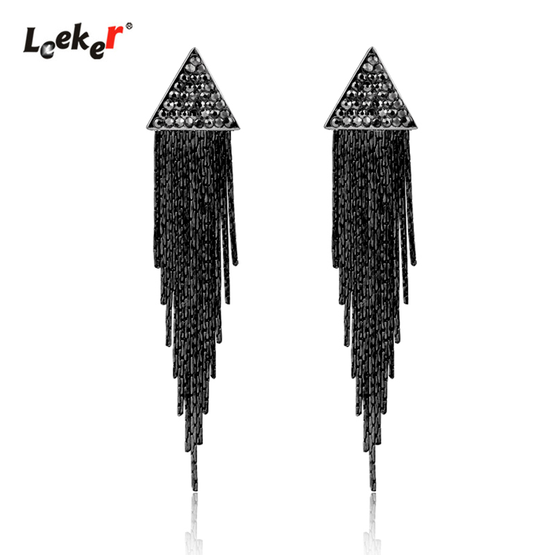 LEEKER Gothic Style Black Cubic Zircon Triangle Earrings With Tassels Pendant For Women Vintage Party Jewelry 103 LK7