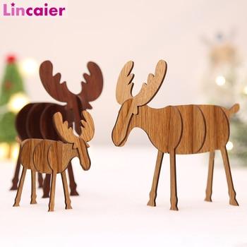 2 uds. De adornos de mesa de alce de madera DIY 2019, decoración de Feliz Navidad para el hogar 2020, regalo de Navidad de Feliz Año Nuevo, decoración de ciervo para fiestas