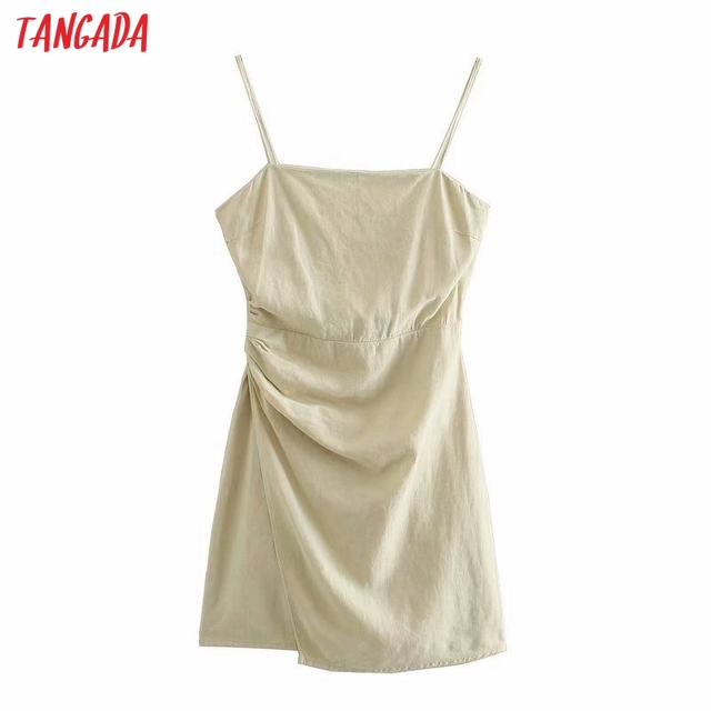 Tangada Women Pleated Cotton Linen Dress Sleeveless Backless 2021 Summer Fashion Lady Dresses 3H587 1