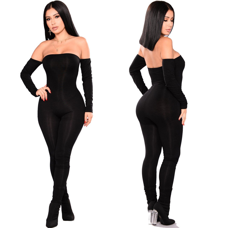 Sexy Women Ladies Off Shoulder Long Sleeve Jumpsuit Clubwear Playsuit Bodysuit Romper Trousers Black