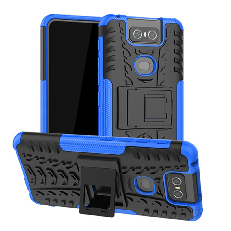 For <font><b>Asus</b></font> <font><b>Zenfone</b></font> <font><b>6</b></font> ZS630KL Rugged Armor Shockproof Soft Bumper Cover With Stand For <font><b>Asus</b></font> <font><b>Zenfone</b></font> <font><b>6</b></font> <font><b>2019</b></font> Hybrid PC Silicone <font><b>Case</b></font> image