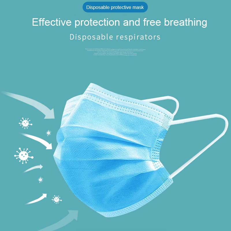 DHL Free Shipping Adult Disposable Masks 3-layer Non-Woven Masks Anti Virus Dust Mouth Face Mask Protection Soft Protective Mask