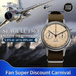 Reloj seagull masculino mecánico oficial auténtico aviación cronógrafo tabla Gaviota 1963 reloj mecánico bobinado manual