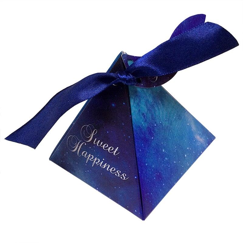DHL gratis 200 Uds. Púrpura/Azul de moda estrella caja de caramelos de boda caja de dulces con tarjeta con cinta DIY especial caramelo regalo caja de suministros para fiesta - 2