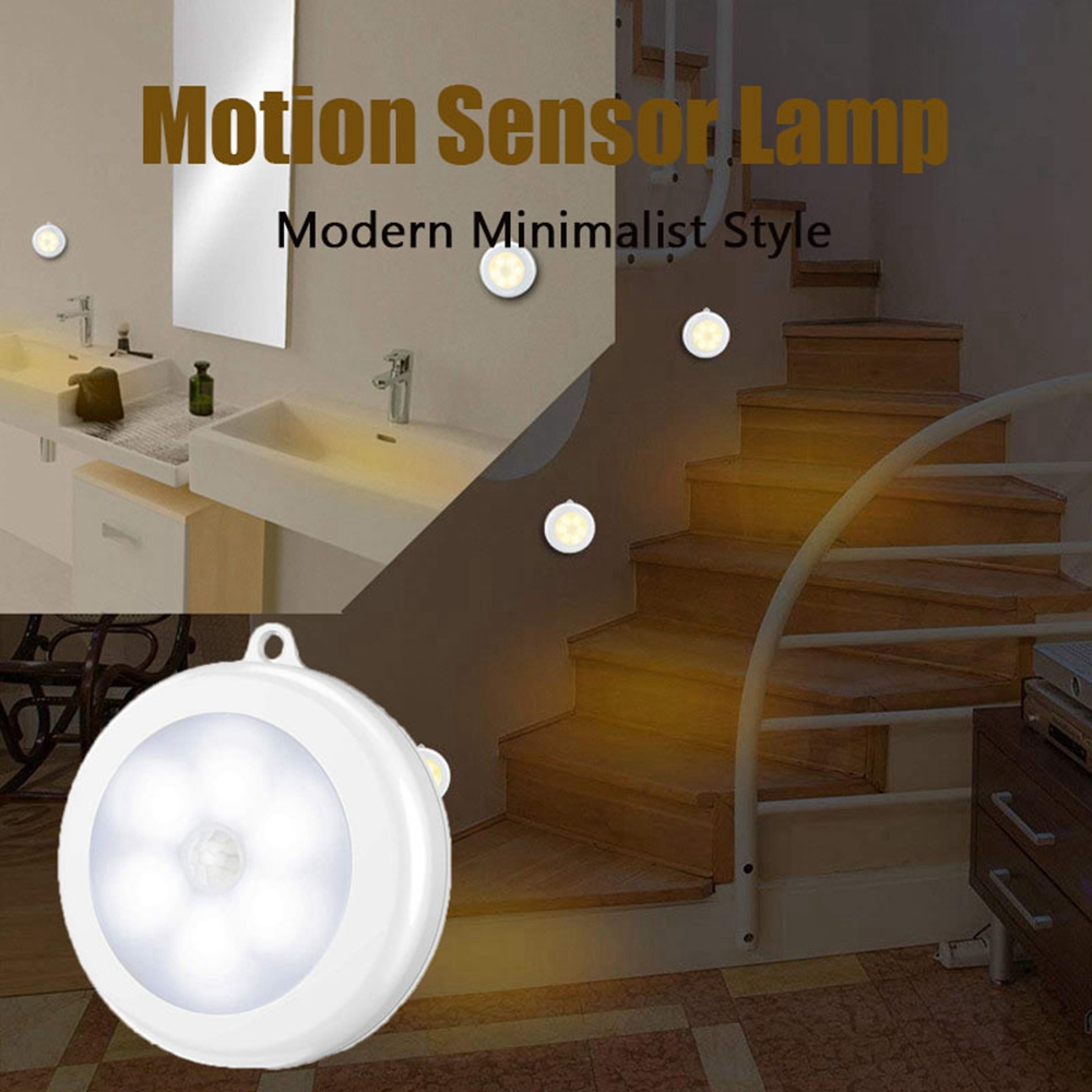 6 LED Motion Sensor Night Light Indoor Outdoor Battery Operated Stairs Hallway Light Auto On/Off Closet Battery Power