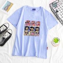 Camiseta linda del equipo del Hip hop de zumba, camiseta divertida del algodón del Kawaii, Harajuku elegante vintage BF tamaño grande, camiseta suelta para mujeres, camiseta de moda 4XL