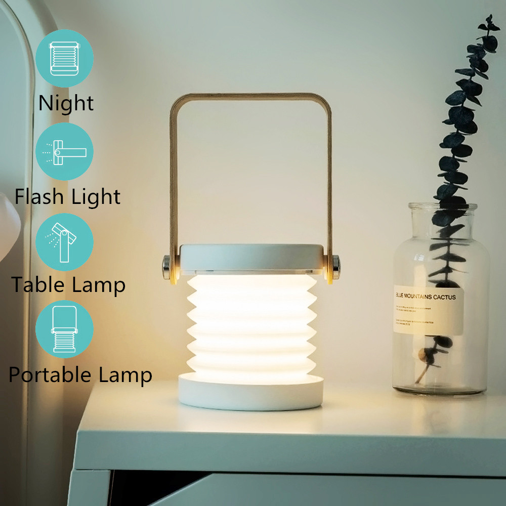 Foldable Touch Dimmable Reading LED Night Light Portable Lantern Lamp USB Rechargeable For Children Kids Gift Bedside Bedroom