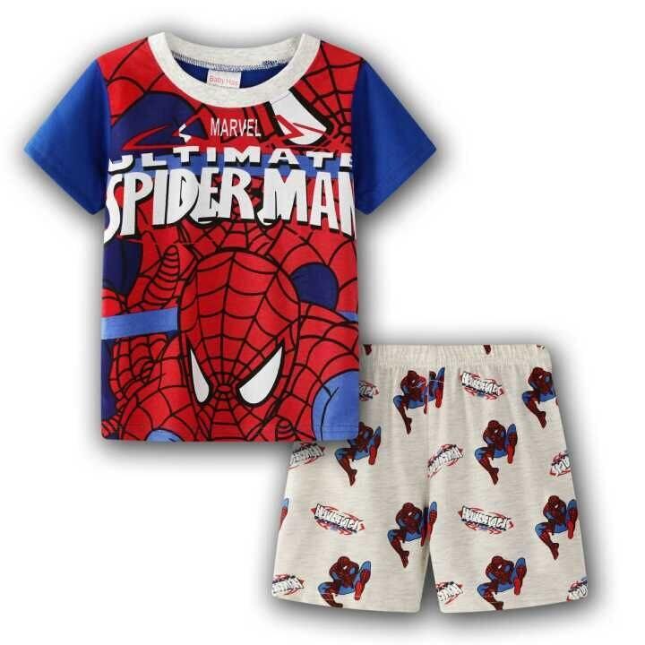 Kids Boy Summer Superhero T-shirt Shorts Cartoon Cotton Pyjamas sleepwear Outfit