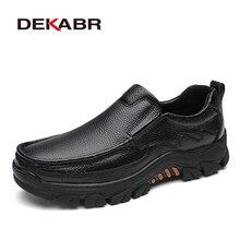Мужские воздухопроницаемые туфли DEKABR, черные повседневные мокасины из мягкой натуральной кожи, модная обувь на плоской подошве, весна-осень