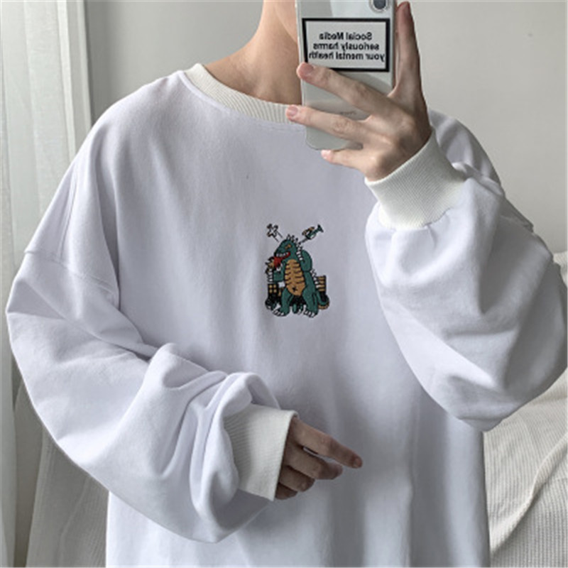 2020 Men Autumn Dinosaur Embroidery Pullovers Sweatshirts Mens 3 Colors O-Neck Hoodies Male Fashion Korean Sweatshirt